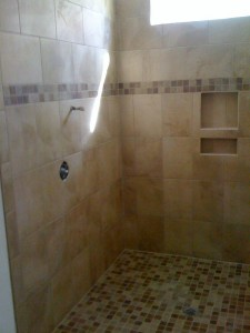 Shower (tile installation by Flooring Services, Inc)